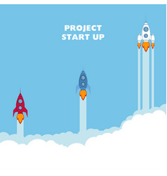 start up rocket ship vector image