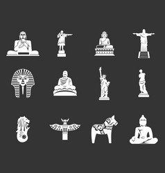 Statue icon set grey vector