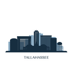 tallahassee skyline monochrome silhouette vector image