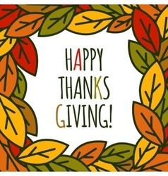 Thanksgiving day leaves frame vector image