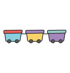 Train wagons toy plastic with wheels vector