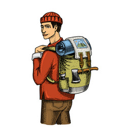 Traveling man with backpack and luggage camping vector