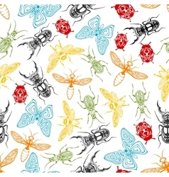 Tribal insects seamless pattern background vector image