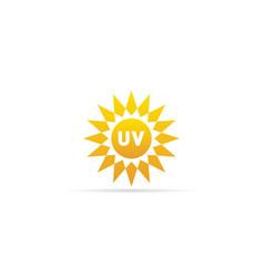 Uv radiation icon ultraviolet with sun logo vector