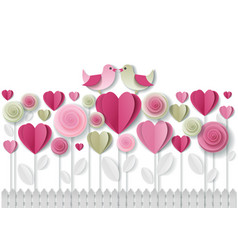 valentines day greeting card paper art vector image