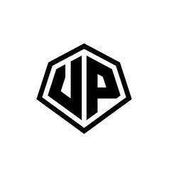 Vp monogram logo with hexagon shape and line vector