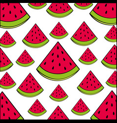 watermelon pattern fresh fruit drawing icon vector image