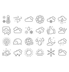 weather and forecast line icons cloudy sky vector image