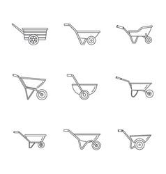 Wheelbarrow garden plant icons set outline style vector