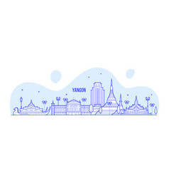 Yangon rangoon skyline myanmar city linear vector