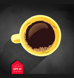 Yellow coffee cup vector