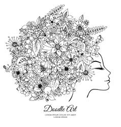 zentangl girl with flowers in vector image