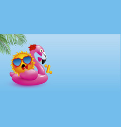 Zero percent design of sun on flamingo inflatable vector