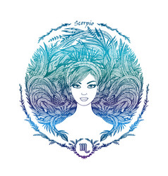 zodiac sign portrait a woman scorpio vector image