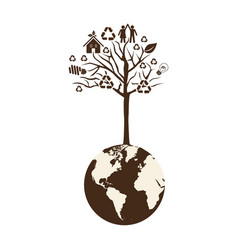 brown color world with tree of recycling vector image vector image