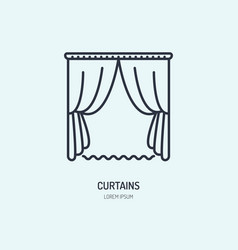 curtains line icon home textile cleaning logo vector image