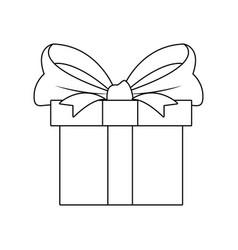 gift box wrapped ribbon bow decoration celebration vector image