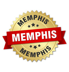memphis round golden badge with red ribbon vector image vector image