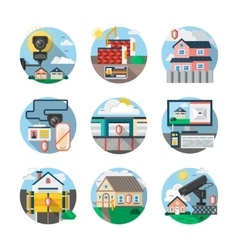 Security services color detailed icons set vector image vector image