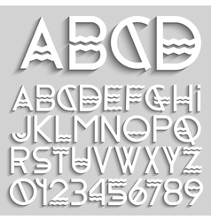 White original alphabet letters and numbers vector image vector image
