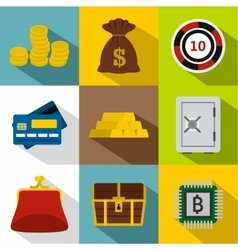 Bank icons set flat style vector image