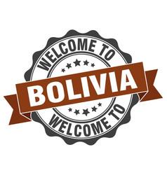 bolivia round ribbon seal vector image
