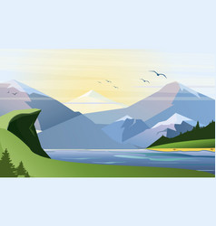 flat of nature background with vector image
