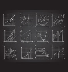 hand drawing business statistics data graphs vector image vector image