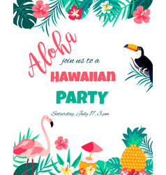 tropical floral poster with toucan and flamingo vector image vector image