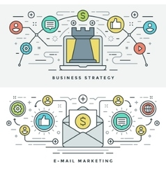 Flat line e-mail and business strategy concept vector