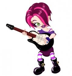 guitar girl vector image vector image