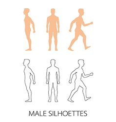 Male silhouettes front back and side vector image
