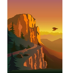 Mountain and sunset vector image vector image