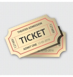 Two cinema tickets pair Isolated on transparent vector image vector image