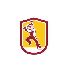 Union Worker Striking Sledgehammer Crest Retro vector image vector image