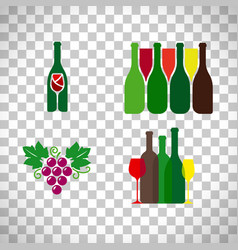 wine logo with grape set vector image vector image