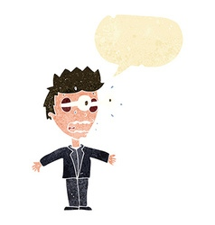 cartoon staring man with speech bubble vector image vector image