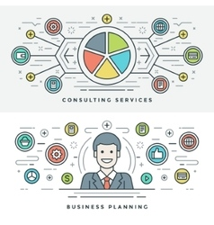 Flat line Services and Business Planning Concept vector image vector image