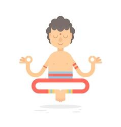 Flat meditating cartoon yogi character vector
