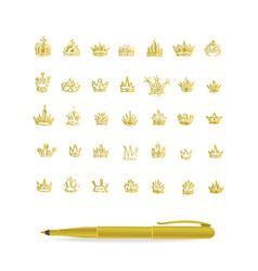 heraldic elements design set of hand drawn golden vector image