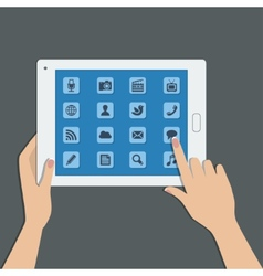 tablet pc with social media icons vector image