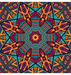 Tribal abstract floral mandala seamless pattern vector image