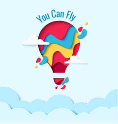 you can fly paper art hot air balloon concept vector image vector image