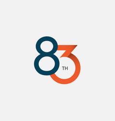 83 th anniversary template design vector