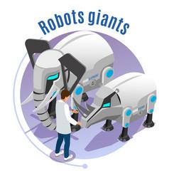animal robots isometric emblem vector image