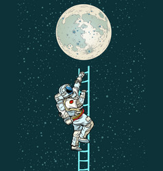 Astronaut climbs stairs to moon vector