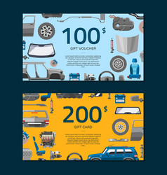 Auto spare parts icons voucher or gift card car vector