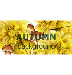 autumn golden leaves banner watercolor vector image