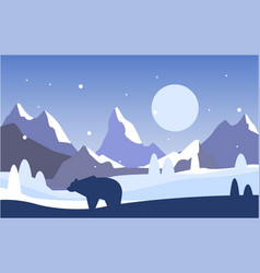 Beautiful scene of nature peaceful winter vector