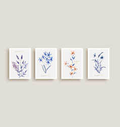 beautiful watercolor flower nature poster set vector image